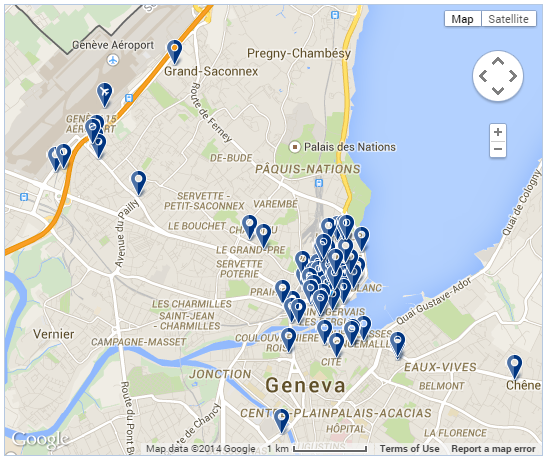 Map of Hotels in Geneva Genevainfo