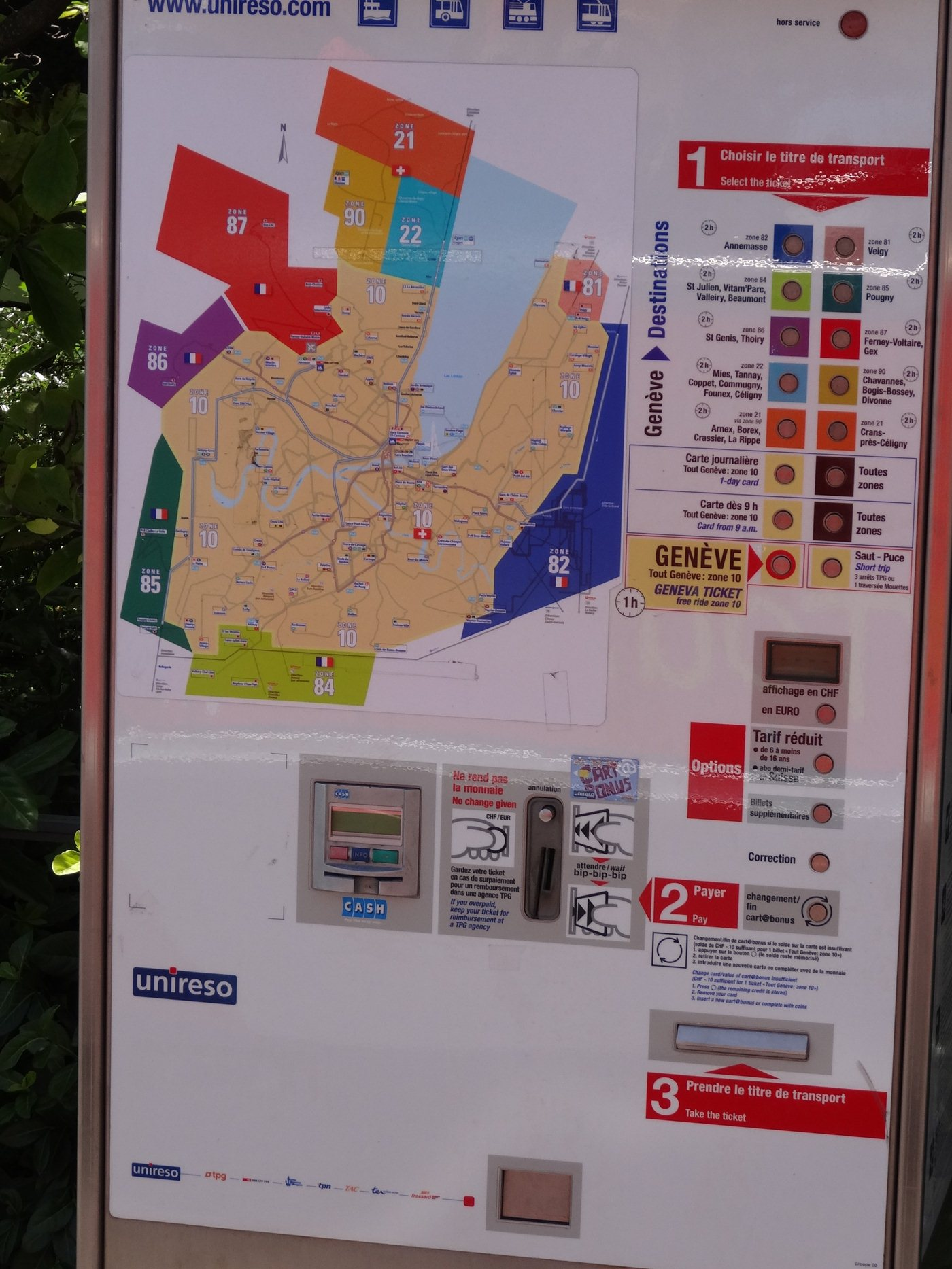 Geneva Public Transport tickets zones prices Tram Bus boat and